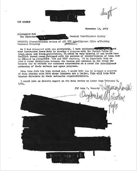 Potwierdzenie zapytania Kennedy' ego w sprawie tematyki UFO.