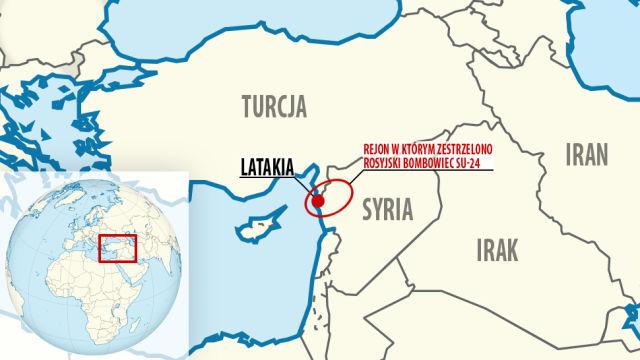 Mapa zestrzelonego Su 24