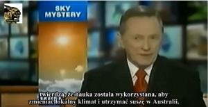 Spiker w TV mówi o smugach chemicznych.